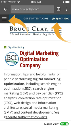 BruceClay.com's homepage design for smartphones